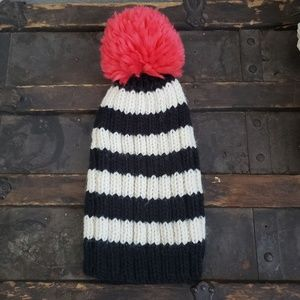Maurices Black & White Cable Knit Hat Pink Pom